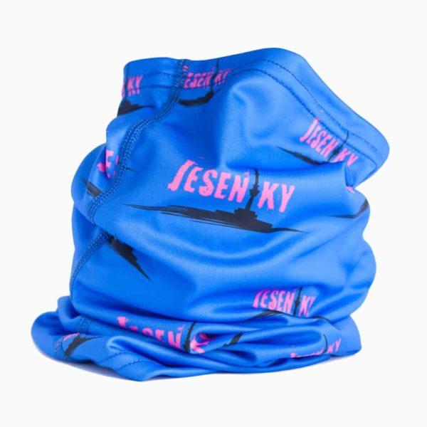 Funkční šátek Jeseníky modrý s růžovým textem